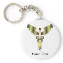Gold Caduceus symbol Keychain