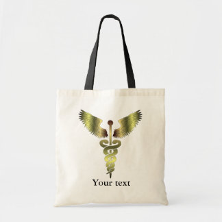 Gold Caduceus symbol Tote Bag