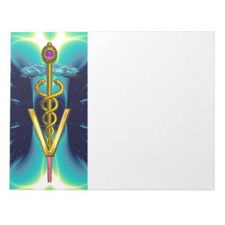GOLD CADUCEUS VETERINARY SYMBOL, Aqua Blue,Teal Notepad