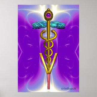 GOLD CADUCEUS VETERINARY SYMBOL Blue Purple Poster