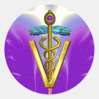 GOLD CADUCEUS VETERINARY SYMBOL Pink Purple Classic Round Sticker