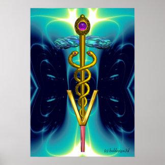 GOLD CADUCEUS VETERINARY SYMBOL Teal Aqua Blue Poster