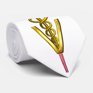 GOLD CADUCEUS VETERINARY SYMBOL,White Tie