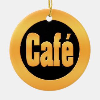 Gold Cafe Ceramic Ornament