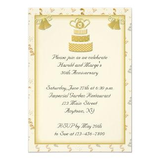 Gold Cake 50th Anniversary Personalized Invitation
