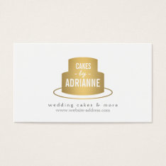 Gold Cake Logo I For Bakery, Cafe, Chef Business Card at Zazzle