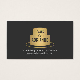 Gold Cake Logo II for Bakery, Cafe, Chef Business Card