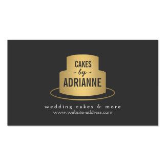 Gold Cake Logo II for Bakery, Cafe, Chef Double-Sided Standard Business Cards (Pack Of 100)