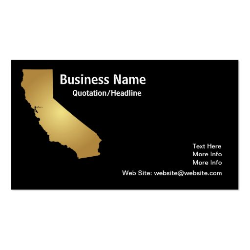 Gold california state business card zazzle for Zazzle business card