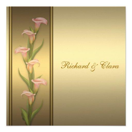 Gold Calla Lily 50th Golden Anniversary Custom Invitations