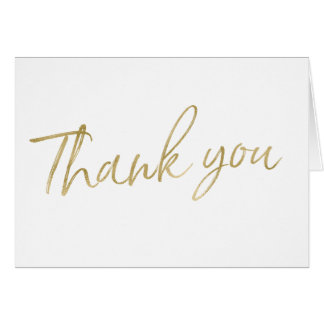 "Gold Calligraphy Hand Lettered Wedding ""Thank you"" Card"