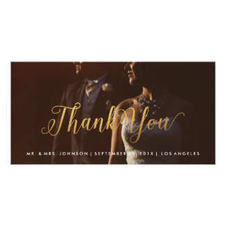 Gold Calligraphy Photo Thank You Photo Card