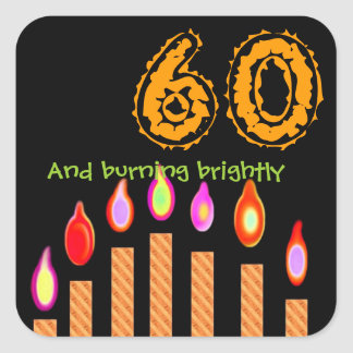 Gold Candles 60th Birthday - Burning Brightly Square Sticker