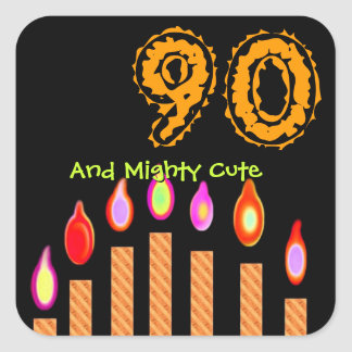 Gold Candles 90th Birthday And Mighty Cute Square Sticker