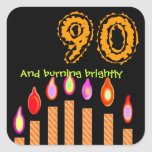 Gold Candles 90th Birthday - Burning Brightly Stickers