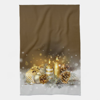 Gold Candles Christmas Elegant Holiday Home Decor Hand Towel