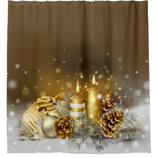Gold Candles Christmas Elegant Holiday Home Decor Shower Curtain