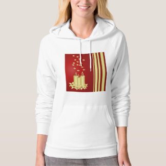 Gold candles, flowers and stars on red hoodie