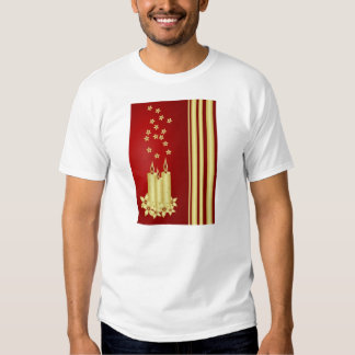 Gold candles, flowers and stars on red T-Shirt