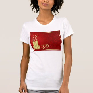 gold candles, flowers and swirls on red background T-Shirt
