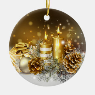 Gold Candles Merry Christmas Holiday Ceramic Ornament