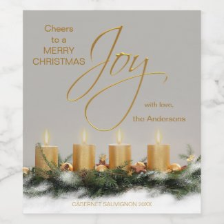 Gold Candles Personalized Christmas Wine Label