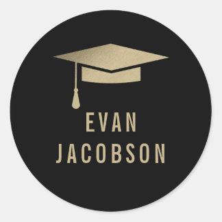 Gold Cap EDITABLE COLOR Graduation Favor Stickers