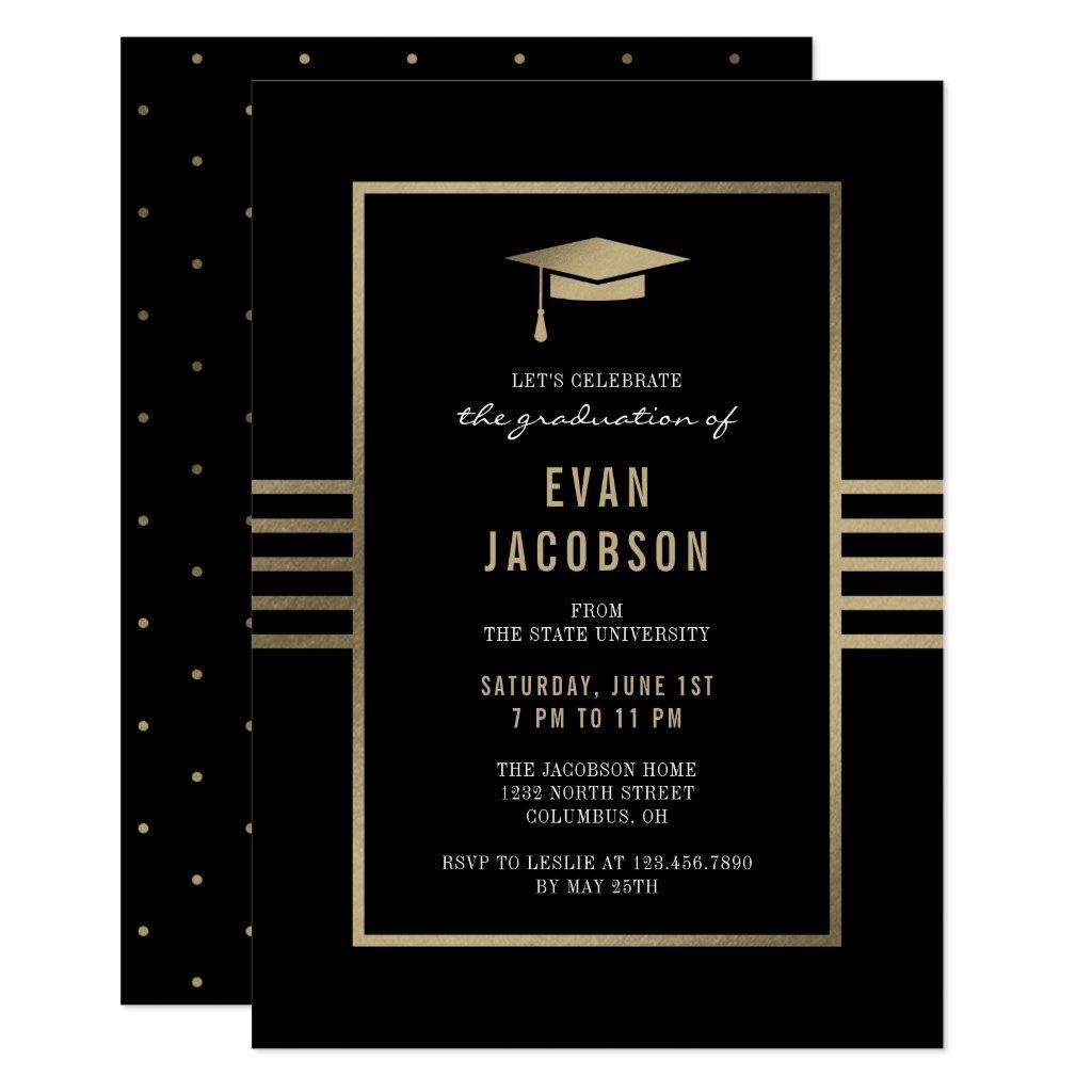Gold Cap EDITABLE COLOR Graduation Invitation