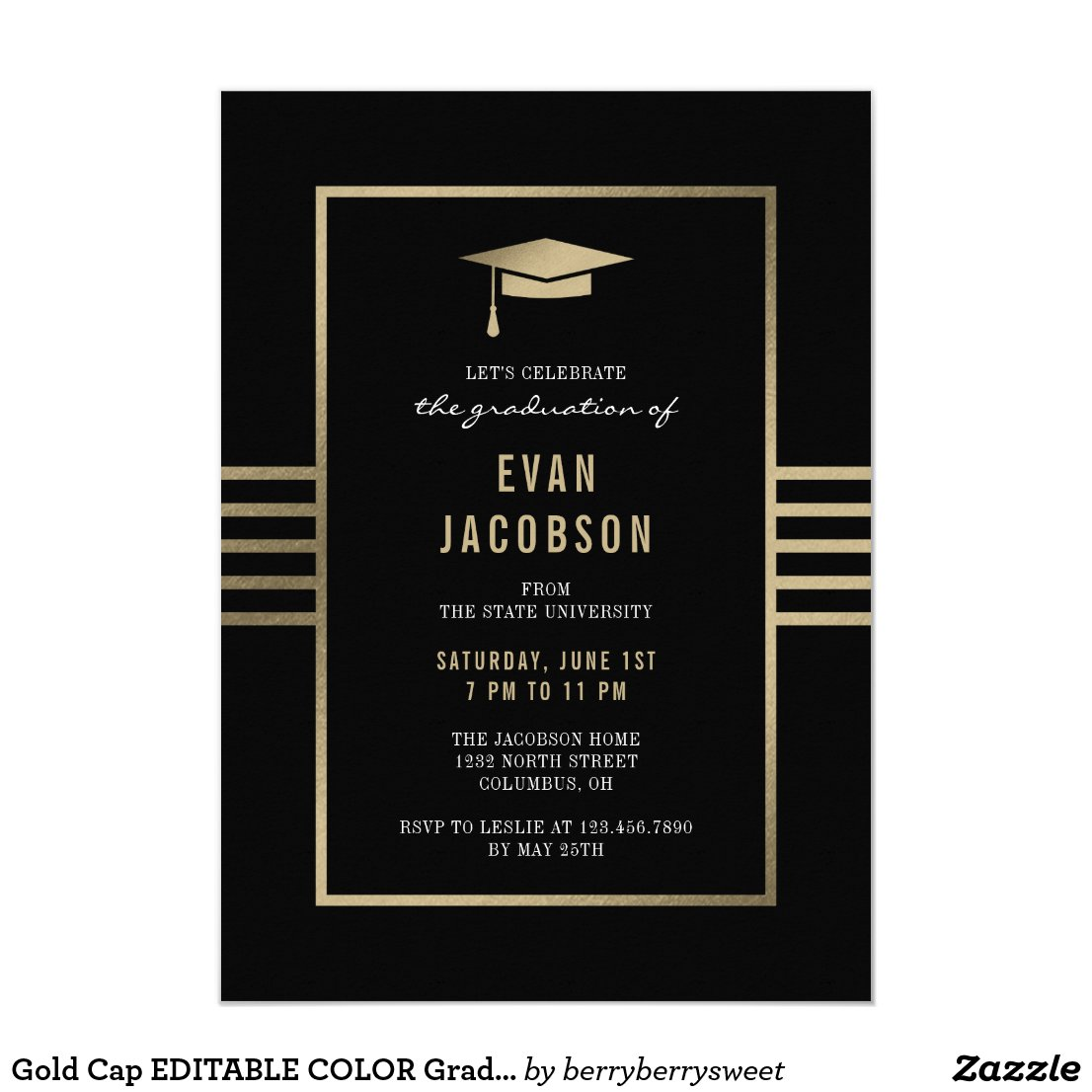 Gold Cap EDITABLE COLOR Graduation Invitation