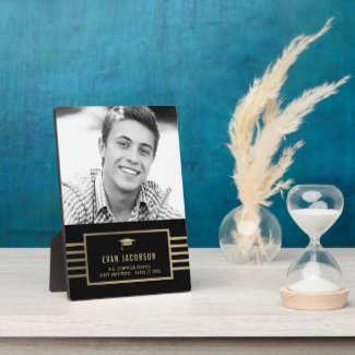Gold Cap EDITABLE COLOR Graduation Photo Plaque
