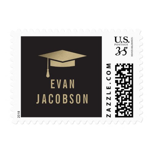Gold Cap EDITABLE COLOR Graduation Postage