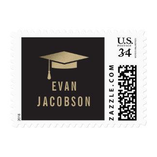 Gold Cap EDITABLE COLOR Graduation Postage