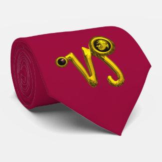 GOLD CAPRICORN ZODIAC JEWEL Red Burgundy Neck Tie