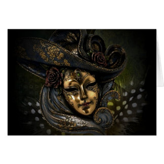 Gold carnival mask with blue hat and feathers card