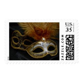 Gold Carnival Venetian Mask Masquerade Postage