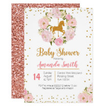 Gold Carousel Baby Shower invitation