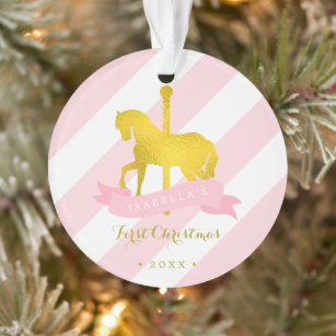 Gold Carousel Horse Baby S First Christmas Ornament