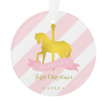 Gold Carousel Horse Baby's First Christmas Ornament