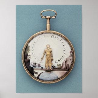Gold cased bras-en-l'air pocket watch poster