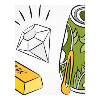 Gold Cash Diamond Monetary Items Letterhead