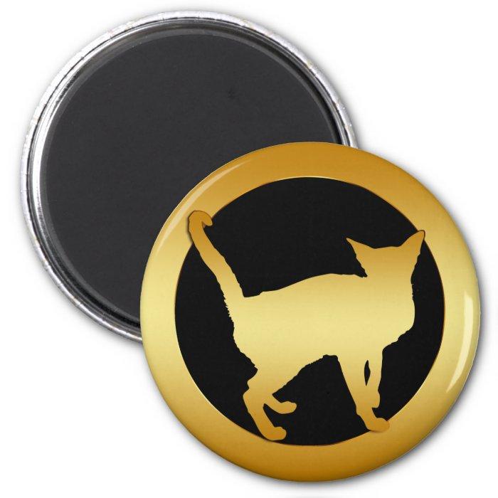 GOLD CAT 2 INCH ROUND MAGNET