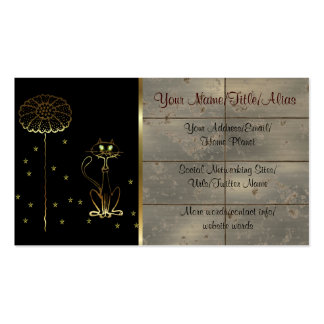 Gold Cat and Flower Business Card Templates