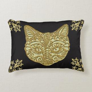 Gold Cat Gold Filigree Throw Pillow