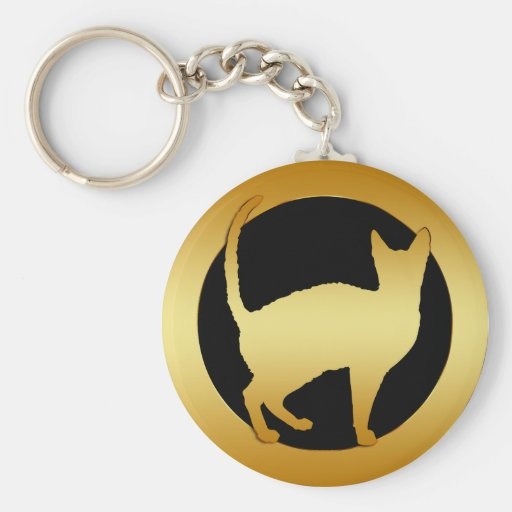 GOLD CAT KEYCHAIN
