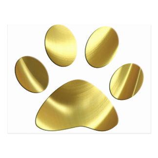 Gold Cat Paw Print Postcard