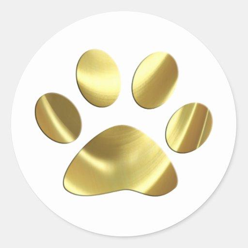 Gold Cat Paw Print Sticker