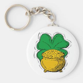 gold cauldron basic round button keychain