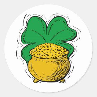 gold cauldron classic round sticker