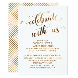 Gold Celebrate with Us Post-Wedding Celebration Invitation