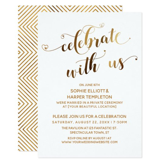 Post Wedding Party Invitation: Gold Celebrate With Us Post-Wedding Celebration Invitation